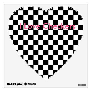 I Love Checkers Heart Decal Checkerboard B/W Wall Skins