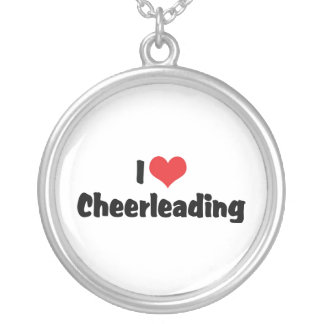 I Love Cheerleading Silver Plated Necklace