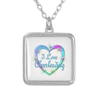 I Love Cheerleading Square Pendant Necklace