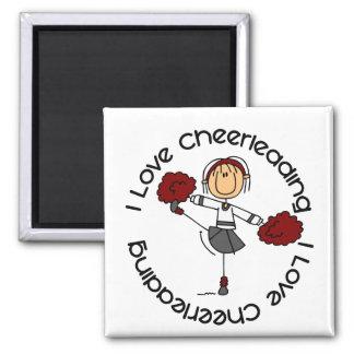 I Love Cheerleading Stick Figure Cheerleader 2 Inch Square Magnet
