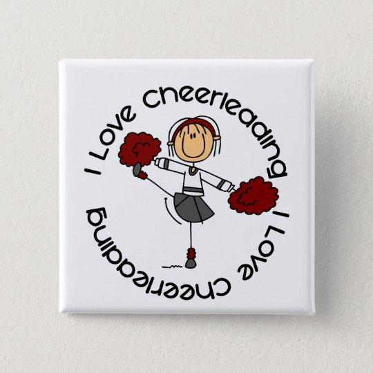 I Love Cheerleading Stick Figure Cheerleader Button