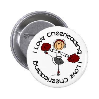 I Love Cheerleading Stick Figure Cheerleader Pinback Buttons