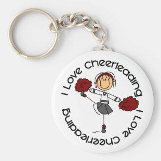 I Love Cheerleading Stick Figure Cheerleader Keychain