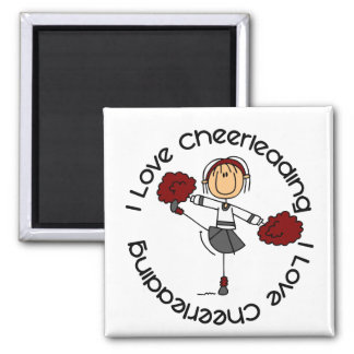 I Love Cheerleading Stick Figure Cheerleader Magnet