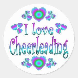 I Love Cheerleading Round Stickers