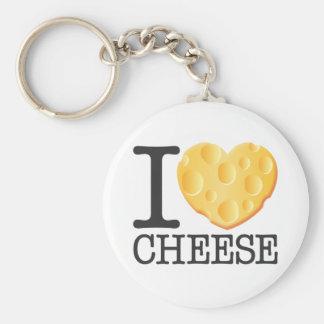 I Love Cheese Basic Round Button Keychain