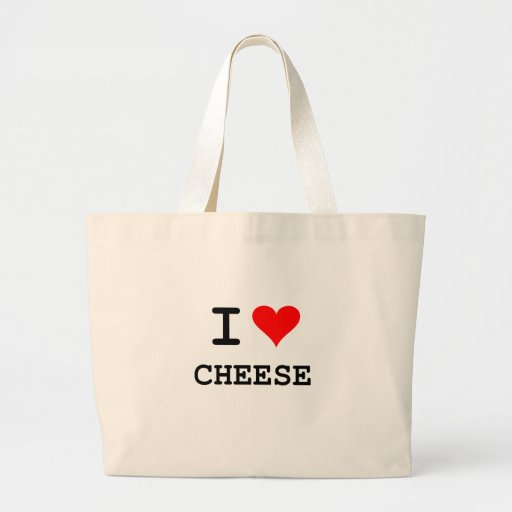I love cheese (black lettering) jumbo tote bag