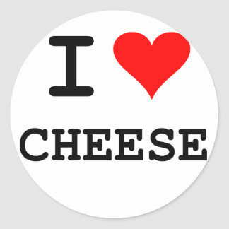 I love cheese (black lettering) classic round sticker