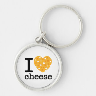I Love Cheese Silver-Colored Round Keychain