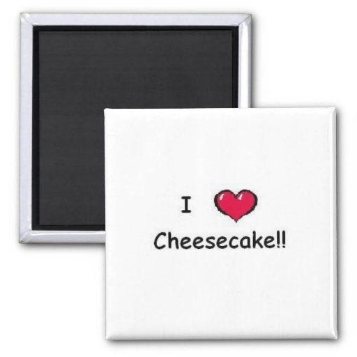 I Love Cheesecake 2 Inch Square Magnet