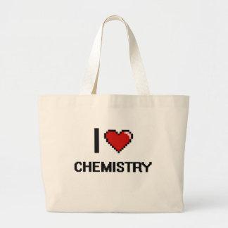 I Love Chemistry Digital Retro Design Large Tote Bag