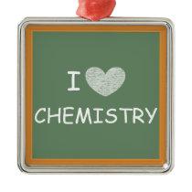 I Love Chemistry Metal Ornament