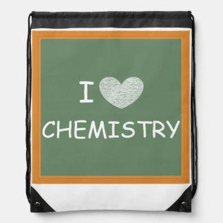 I Love Chemistry Drawstring Backpacks