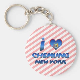 I love Chemung, New York Basic Round Button Keychain