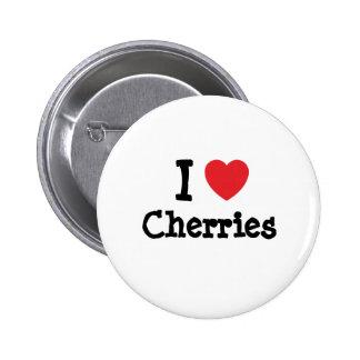 I love Cherries heart T-Shirt Pins