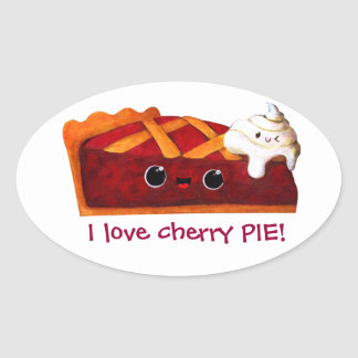 I love Cherry Pie Oval Sticker