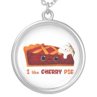 I love Cherry Pie Silver Plated Necklace