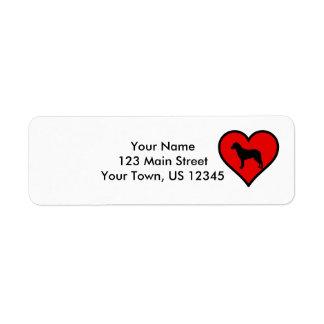 I Love Chesapeake Bay Retriever Silhouette Heart Return Address Label