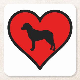 I Love Chesapeake Bay Retriever Silhouette Heart Square Paper Coaster