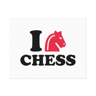 I love Chess horse Stretched Canvas Print