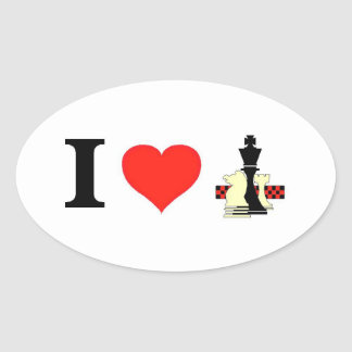 I Love Chess Oval Sticker