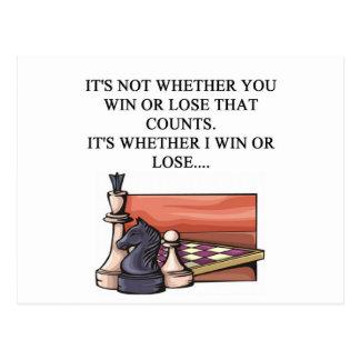 i love chess player postcard