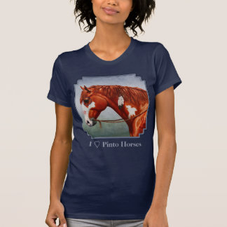 I Love Chestnut Pinto Native American Horses T-Shirt