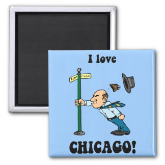 I love Chicago 2 Inch Square Magnet