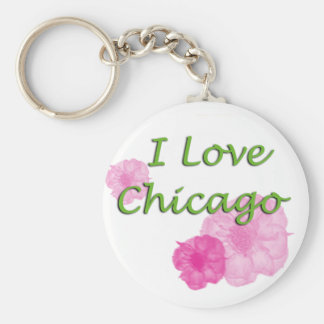 I love Chicago Basic Round Button Keychain