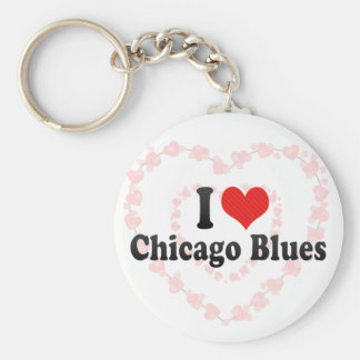 I Love Chicago Blues Keychain