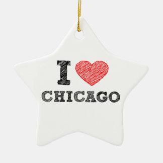 I-Love-Chicago Ceramic Ornament