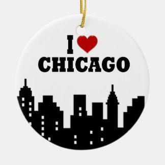 I Love Chicago Ceramic Ornament