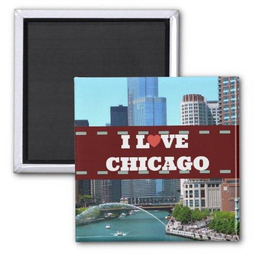 I Love Chicago Cityscape Fridge Magnet