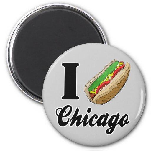 I Love Chicago Hot Dogs Refrigerator Magnet