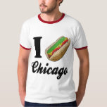 I Love Chicago Hot Dogs T Shirt