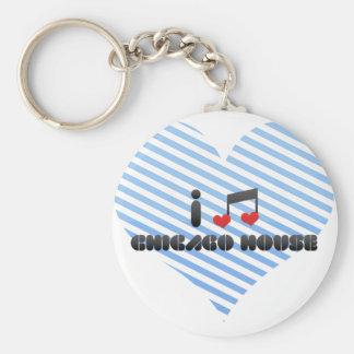 I Love Chicago House Basic Round Button Keychain