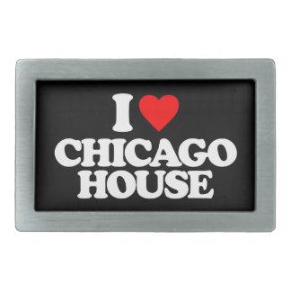 I LOVE CHICAGO HOUSE RECTANGULAR BELT BUCKLE