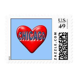 I Love Chicago Postage Stamps