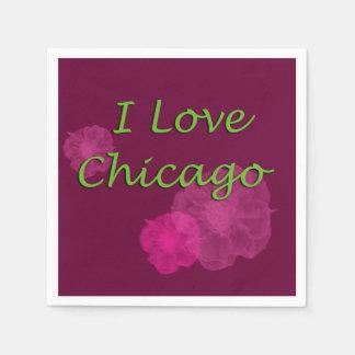 I Love Chicago Purple Disposable Napkins