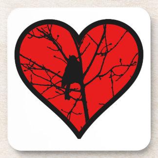 I Love chickadees, watching Birds Silhouette Heart Beverage Coaster