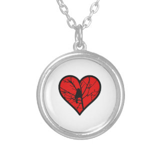 I Love chickadees, watching Birds Silhouette Heart Round Pendant Necklace