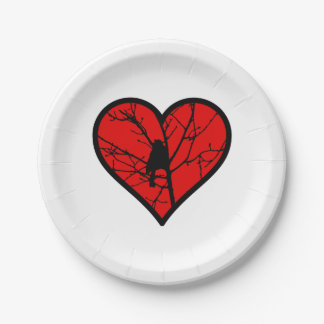 I Love chickadees, watching Birds Silhouette Heart 7 Inch Paper Plate