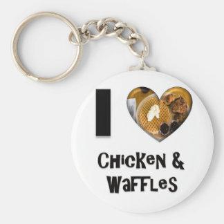 I Love Chicken and Waffles Basic Round Button Keychain