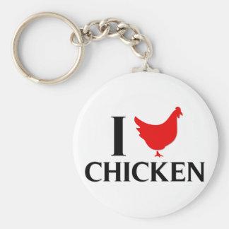 I Love Chicken Basic Round Button Keychain