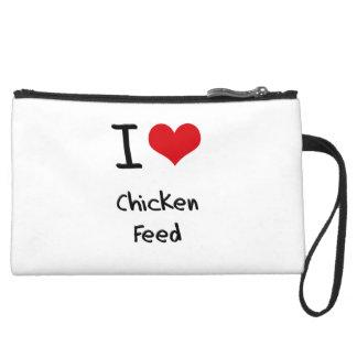 I love Chicken Feed Suede Wristlet Wallet