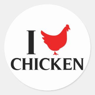 I Love Chicken Round Sticker