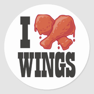 I Love Chicken Wings Classic Round Sticker