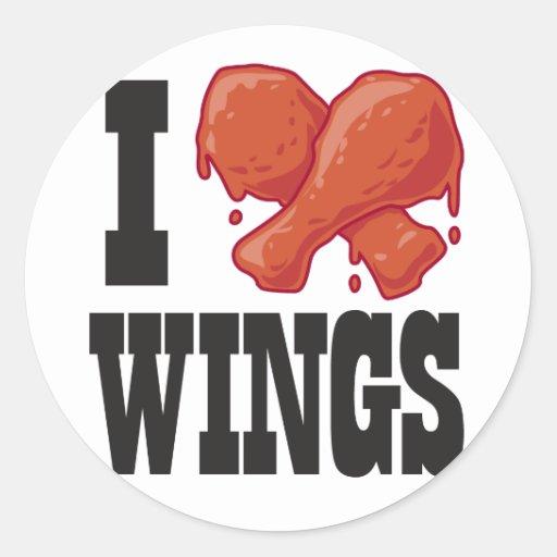 Love chicken wings round sticker zazzle