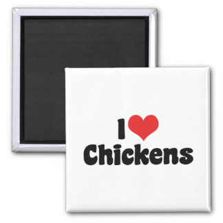 I Love Chickens 2 Inch Square Magnet