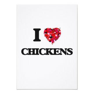I love Chickens 5x7 Paper Invitation Card